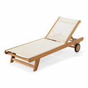 Teak & Sling Chaise Lounge (MF)