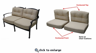 Concord Loveseat Cushions with Ties with Sunbrella & Richloom Premiere Fabrics (UPS $50)