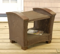 Wicker & Wood End Table/Ottoman (UPS $45)