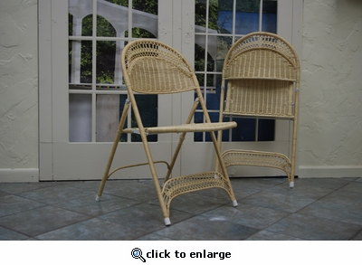 Wicker Folding Chairs Set of 2  (UPS $55)