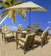 "Imitation Wood ""All Weather"" Aluminum Dining Set of 7 (MF)"