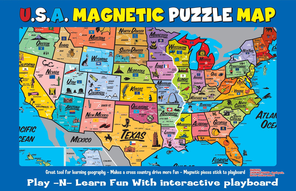 USA Magnetic Puzzle Map - Interactive us map puzzle