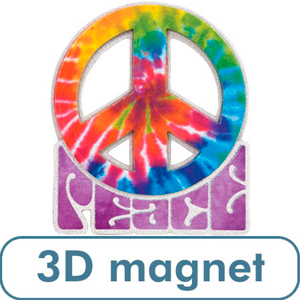 3 D Peace Sign-Tie Dye Magnet