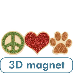 3 D Peace Love Paw Magnet