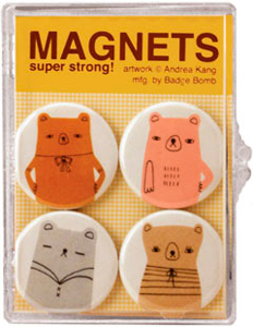 Four Bears Badge Bomb Fridge Magnet Set