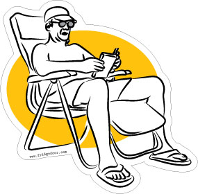 Beach Chair Man Car Magnet