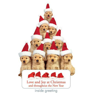 Paper House Holiday Golden Retriever Puppies Card