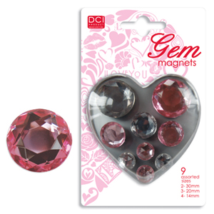 Decor Craft Gem Magnet Pink & Clear 9-Pk