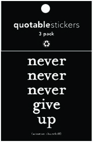 Never Never Give Up Churchill Quotable Stickers 3-Pk