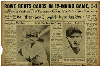 Original Newspaper Sports Page - The Golden Age of Baseball