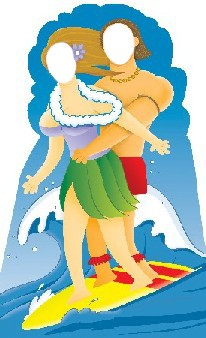 Life Size Surfer Couple Standee