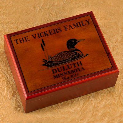 Cabin Series Personalized Humidor - Loon