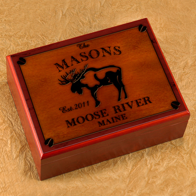 Cabin Series Personalized Humidor - Moose