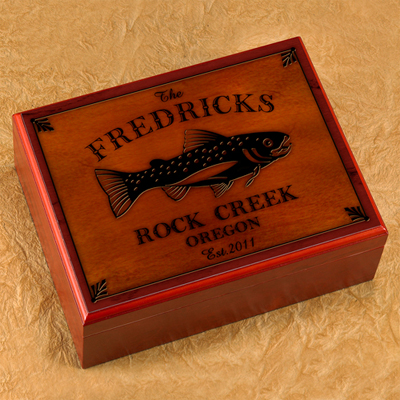 Cabin Series Personalized Humidor - Trout