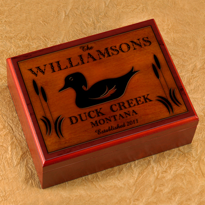 Cabin Series Personalized Humidor - Wood Duck
