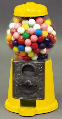 9 Yellow Metal Gumball Machine