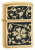 Gold Floral Flush Zippo Lighter
