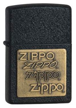 Brass Emblem on Black Crackle Zippo Lighter