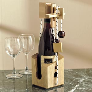 Don't Break The Bottle Wooden Wine Puzzle