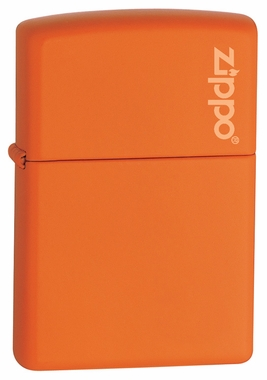 Orange Matte with Logo Zippo Lighter