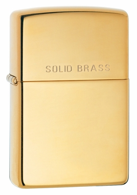 High Polish Brass with Solid Brass Engraved Zippo Lighter