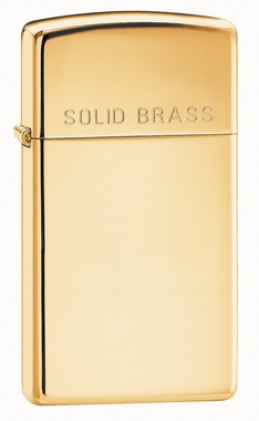 High Polish Brass with Solid Brass Engraved Slim Zippo Lighter