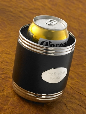 Personalized Black Leather Koozie