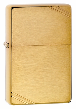 Vintage Brushed Brass with Slashes Zippo Lighter