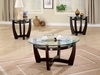 3 PC Occasional Table Set with Glass Tops