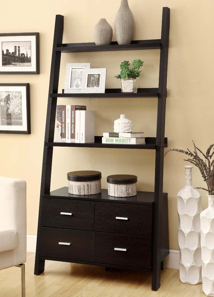 Leaning Book Case With Drawers And Shelves Model 800319