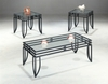 Contemporary 3 PC Occasional Table Set with Glass Tops