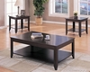 3 PC Contemporary Occasional Coffee Table Set with Shelves