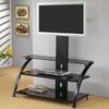 Contemporary Metal Media Console with Bracket Furniture