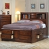 Hillary Queen Bed Bookcase with under bed Storage Drawers