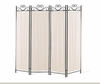 4-Panel Folding Screen Beige And Black 2710