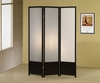 3-Panel Folding Floor Screen Translucent And Black 900120