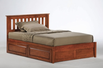 Rosa Mission platform bed with Two storage drawers