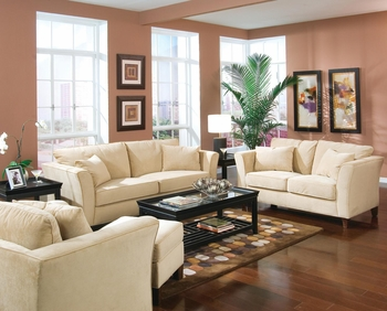 Contemporary Sofa with Flair Tapered Arms and Accent Pillows