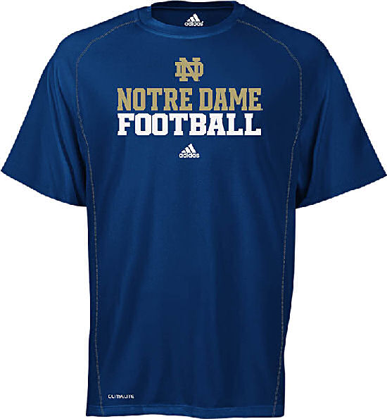 Notre dame fighting irish climalite official football for Notre dame tee shirts