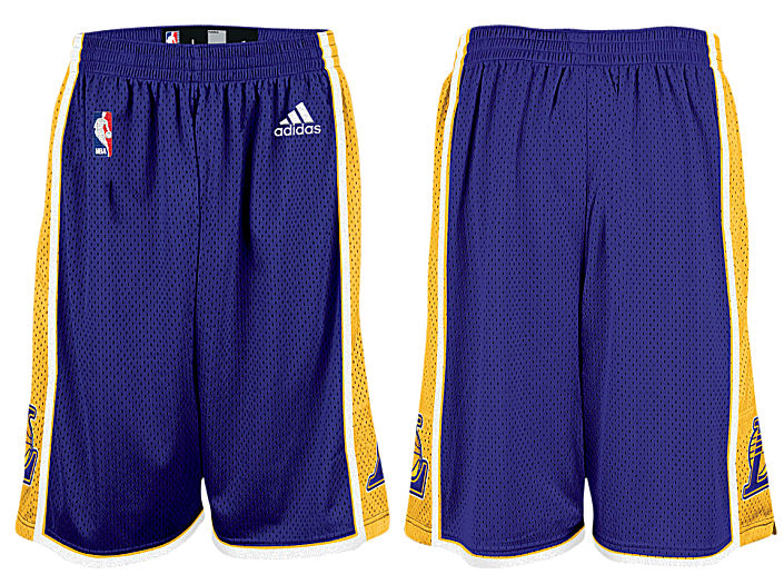 e89e879a794 Adidas   NBA Basketball Shorts By Adidas   Los Angeles Lakers Purple  Embroidered Swingman Shorts By Adidas
