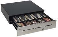 (Click to Enlarge) MMF CASH DRAWER [adv-111b11410-04] - MMF - ADVANTAGE - CASH DRAWER - STAINLESS - NO SLOTS - 18X16.7 - 5BILL/5COIN - US TILL - MULTI-SERIAL - KEY RANDOM - NO BELL - BLACK - CABLE NOT INCLUDED [adv-111b11410-04]