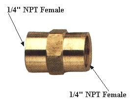 "1/4"" x 1/4"" Brass Fitting Female (NPT)"