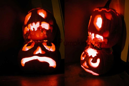 Twin Zombie Pumpkins