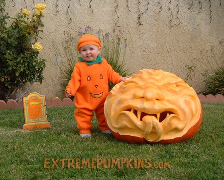 A Baby and A Giant Demon Pumpkin