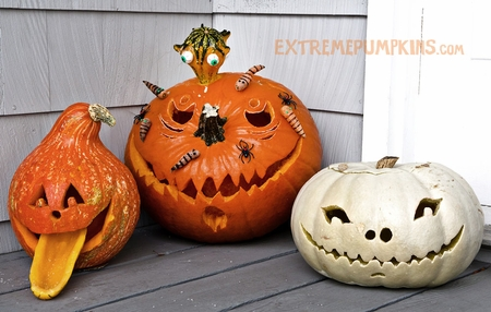 Three Cool Pumpkins With Accessories