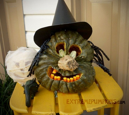 The Candy Corn Witch Pumpkin