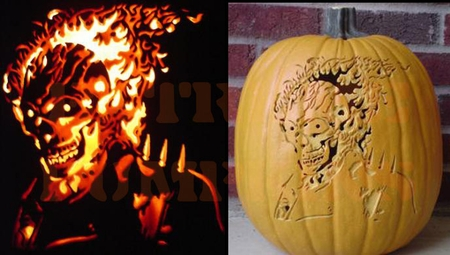 The Ghost Rider Pumpkin - Two Views