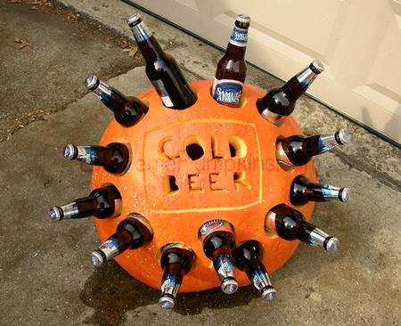 The beer cooler pumpkin Pumpkin carving beer