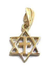 14k Gold Star Of David With The Cross Interfaith Pendant