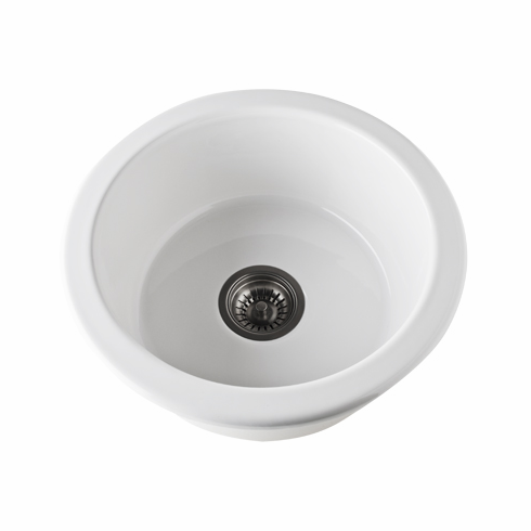 ROHL 6737-63 Allia Round Bar/Food Prep Sink In Matte Black Fireclay 18 1/8^ Diameter 7 1/4^ Overall Depth 5 7/8^ Internal Depth